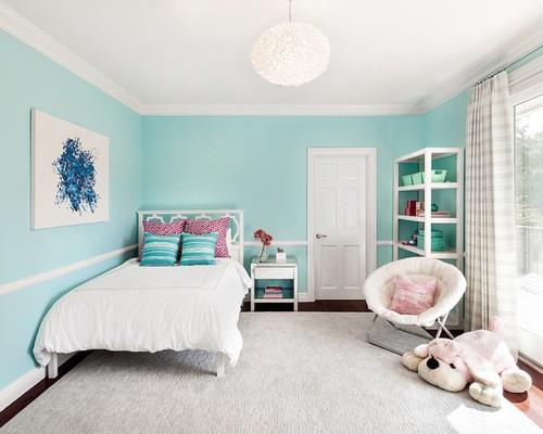 шторы к голубым обоям в детской комнате