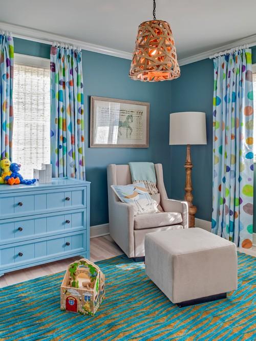 шторы к голубым стенам в детской