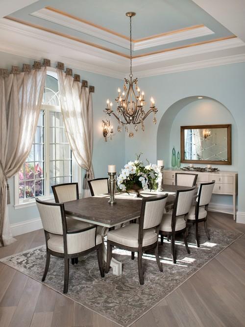 шторы к голубым стенам в столовой