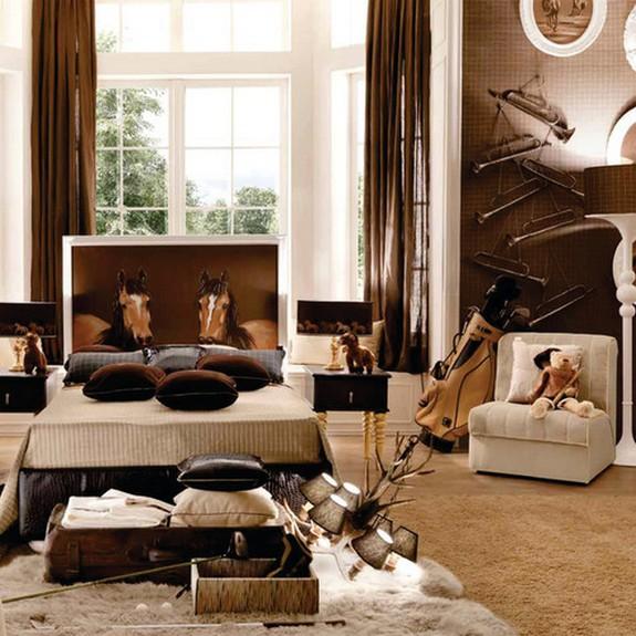 коричневые шторы к обоям коричневого цвета