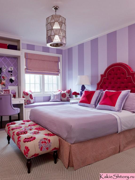 розовые шторы к сиреневым обоям в детской