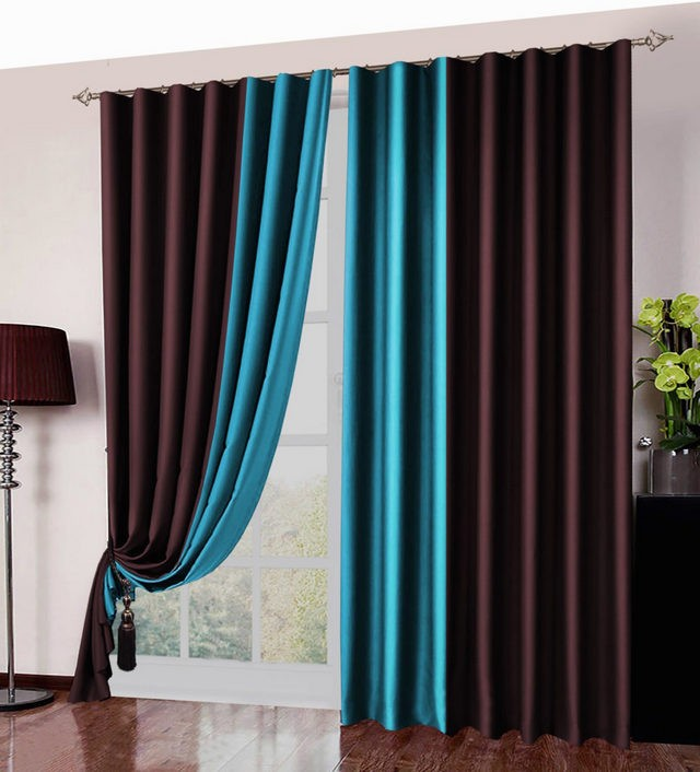 бирюзово-коричневые шторы