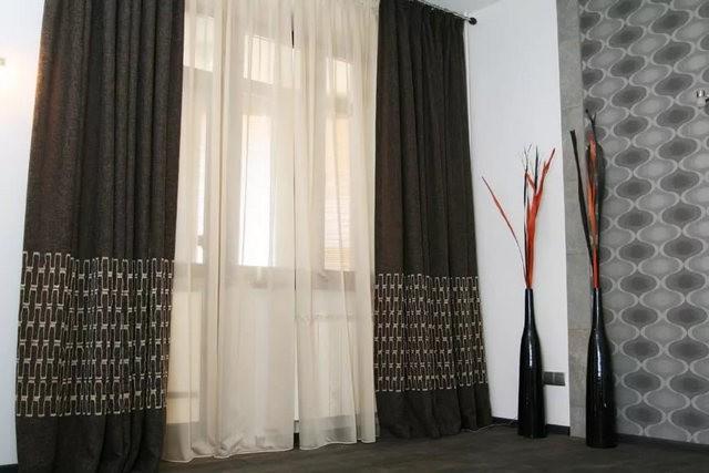 шторы венге с тюлем