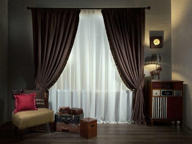 шторы венге в гостиной