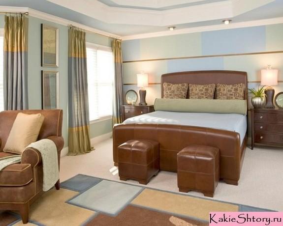 полосатые шторы в спальне