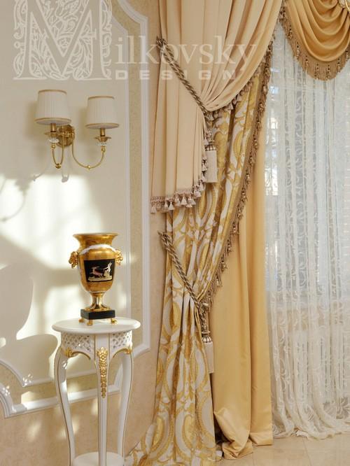 портьеры ампир с декоративными шнурами и кистями