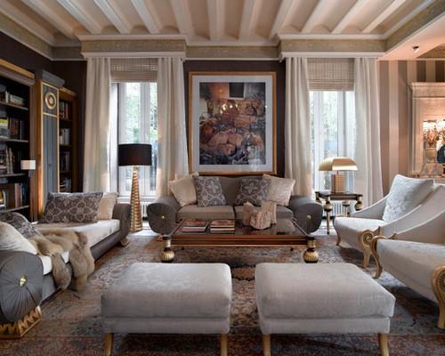 шторы ампир в классической гостиной