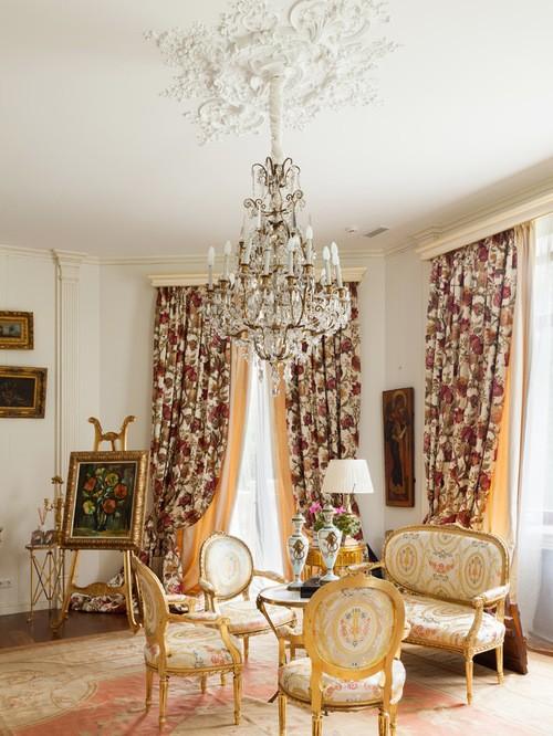 шторы ампир в гостиной