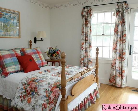 винтажные шторы в цветочек