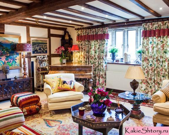 шторы в цветочек в стиле шебби шик