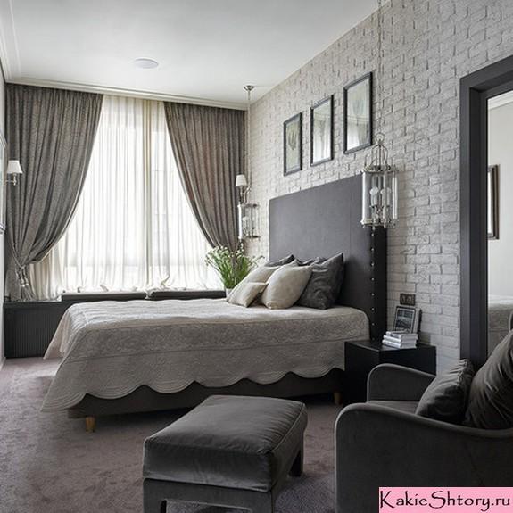 миолочный тюль в серой спальне