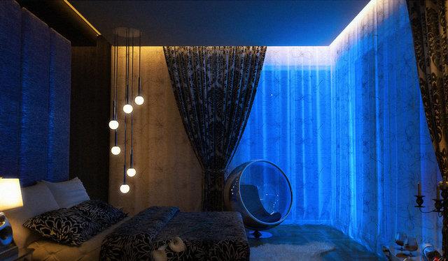 LED одсветка штор в спальне