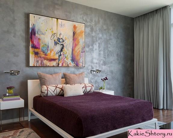 шторы к серым стенам в спальне
