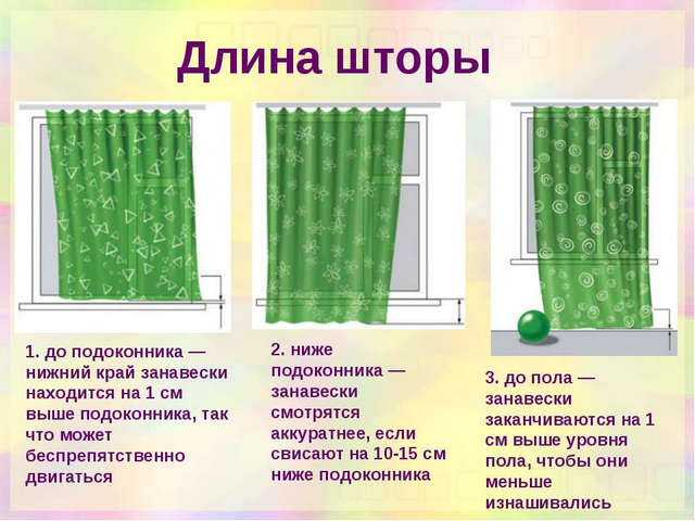 варианты выбора длины штор