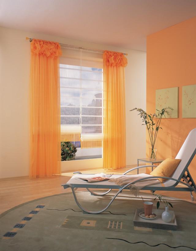оранжево-персиковый тюль