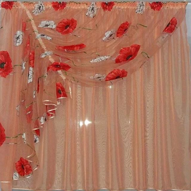 персиковый тюль с красным тюлем