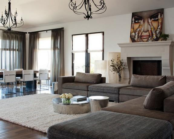тюль серого цвета в гостиной