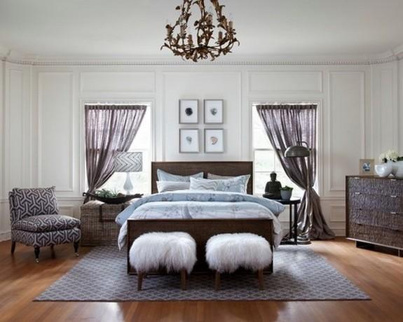 тюль серого цвета в спальной комнате