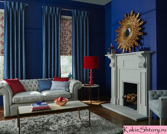 шторы к синим стенам в гостиной