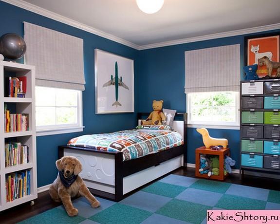 шторы под синие обои в детской
