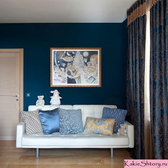 шторы под синий цвет стен