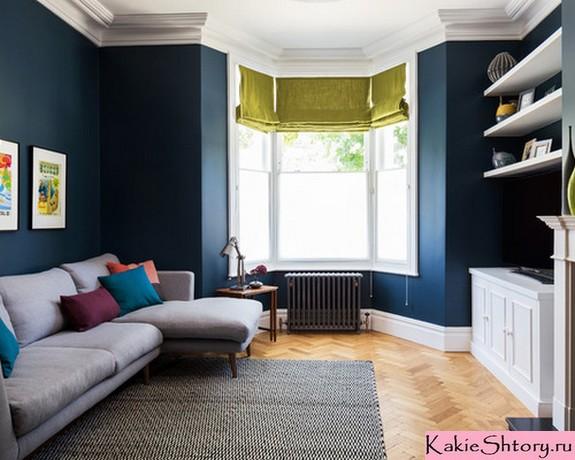шторы под синие стены