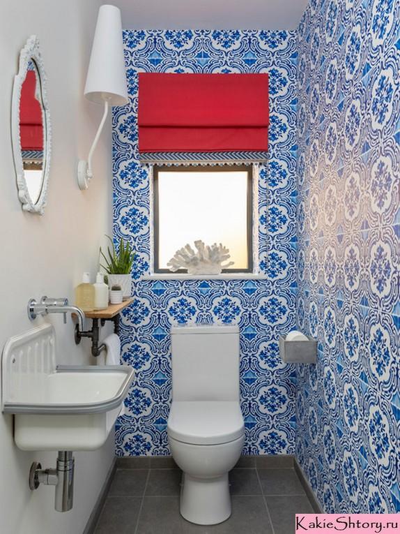 римская штора под синие стены в ванной