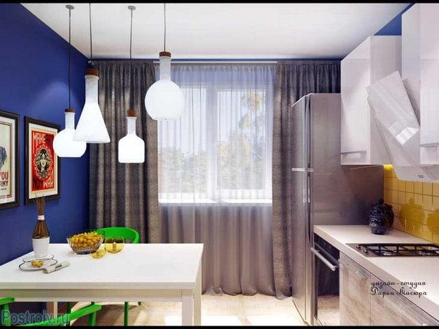 занавески под синие стены в кухне