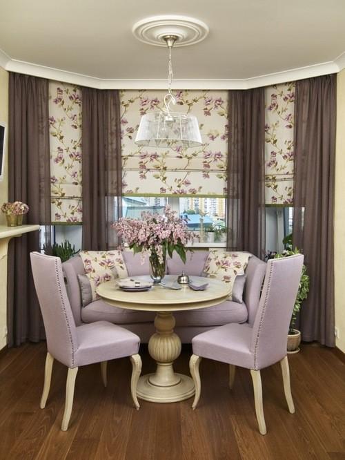 сиреневые шторы в столовой