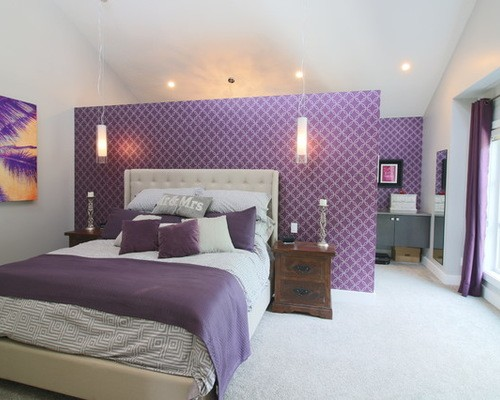 сиреневые шторы в спальне