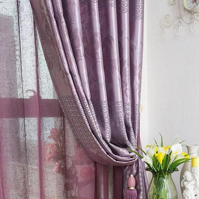 сиреневые шторы и тюль