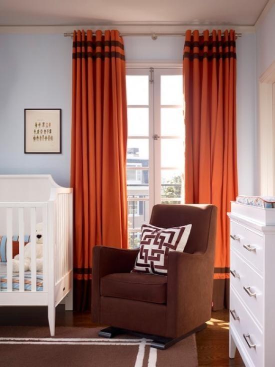 терракотовые портьеры в детской комнате