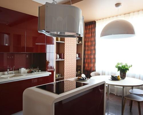 терракотовые портьеры в кухне-гостиной