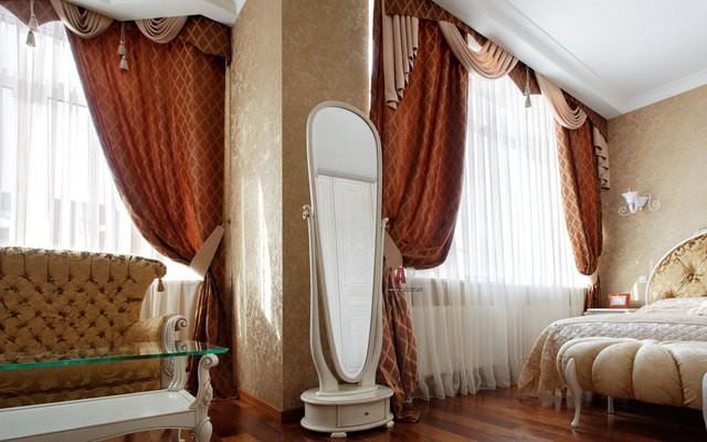 терракотовые портьеры в спальне ампир