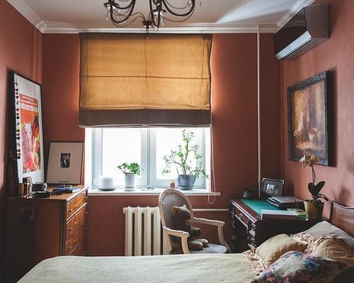 коричнево-терракотовая римская штора