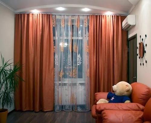терракотовые шторы в детской