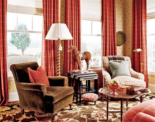 терракотовые шторы в гостиной в классическом стиле