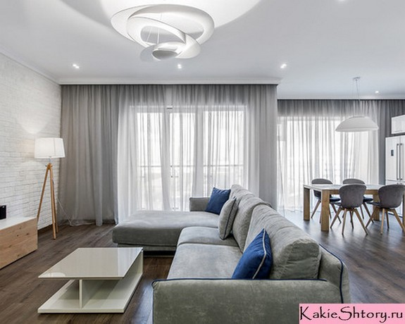 тюль для гостиной в стиле минимализма