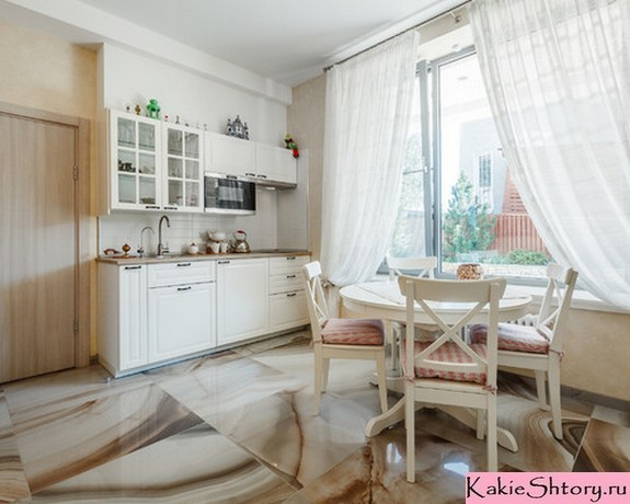 тюлевые занавески в кухне