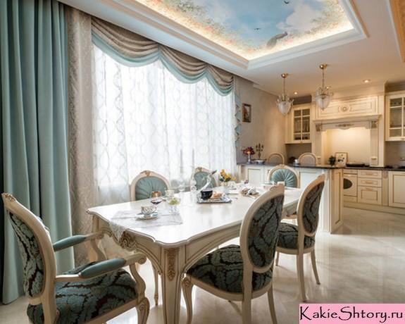 тюль и шторы с ламбрекеном в классической кухне