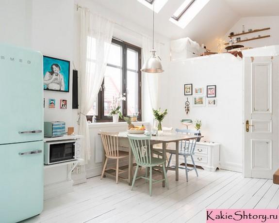 тюль на кухне в скандинавском стиле