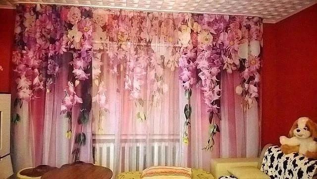 тюль с изображением цветов
