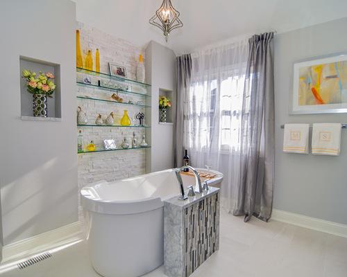 тюль серого цвета в ванной