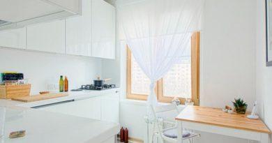 тюлевые шторы в кухне