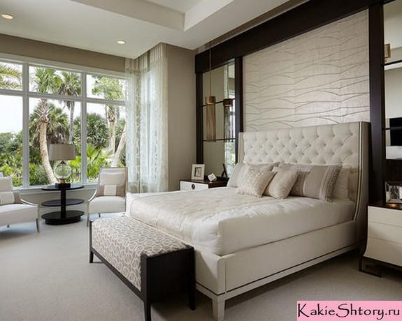 бежевый тюль в спальне