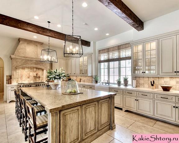 тюль бежевого цвета в кухне
