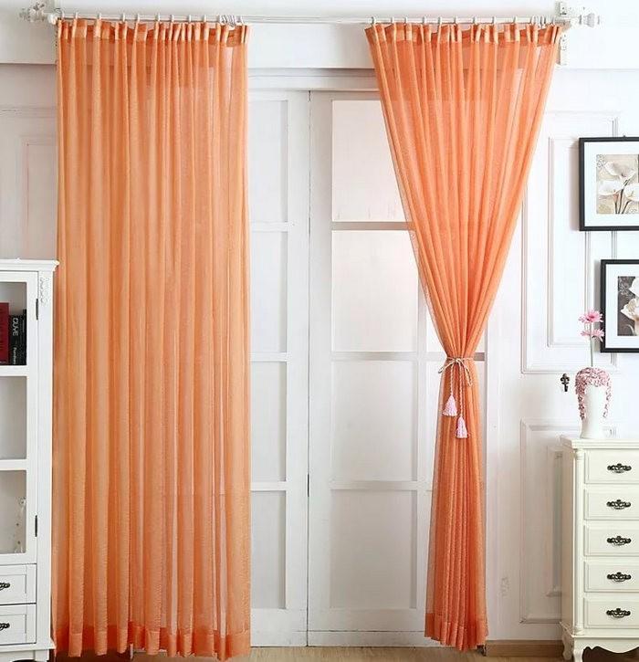 персиковые занавески в деревенском стиле