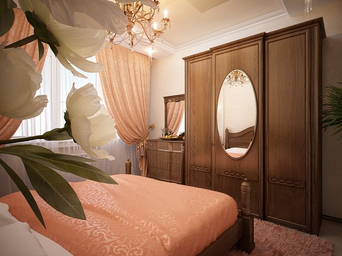 шторы персикового цвета в спальне