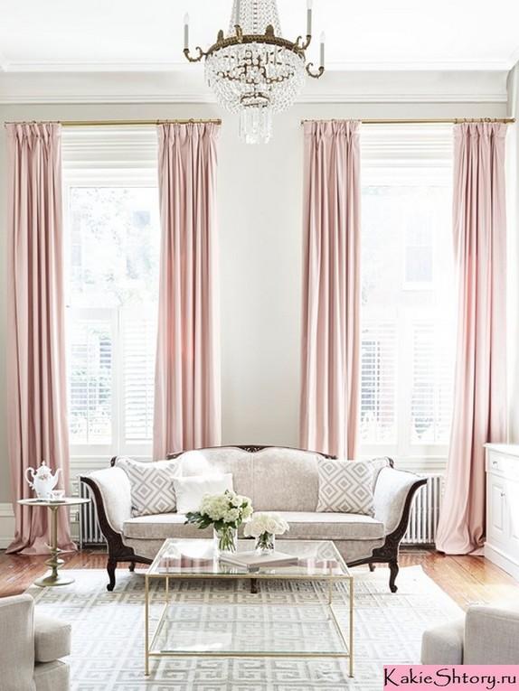 розовые шторы к бежевым обоям