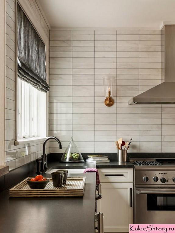 римская штора в кухне с бежевыми стенами